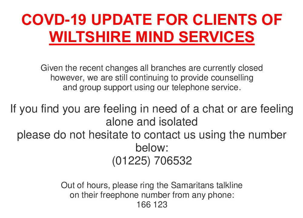 Wiltshire Mind Services Update